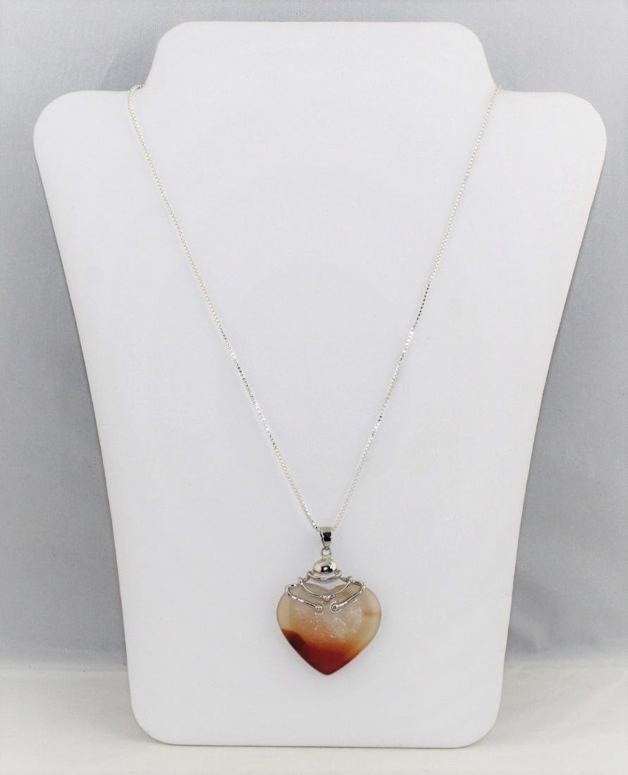 Carved Quartz Heart Pendant On Sterling Silver Necklace