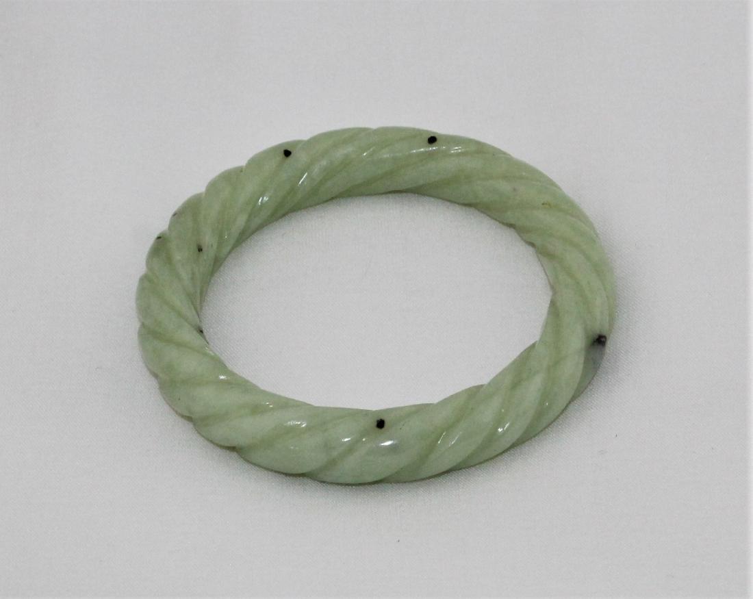 Antique Carved Green Nephrite Jade Bangle Bracelet - 2