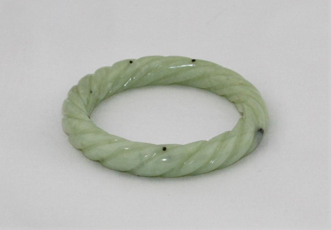 Antique Carved Green Nephrite Jade Bangle Bracelet - 4