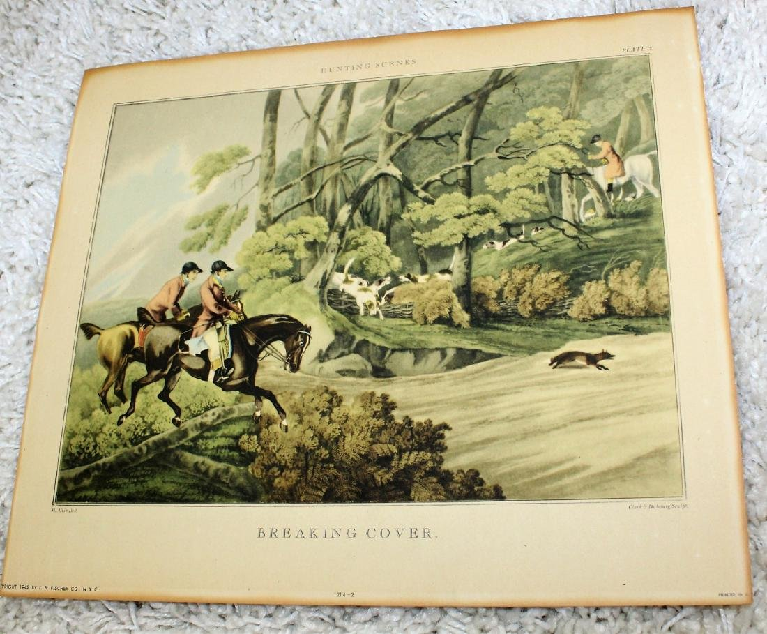 Pair of Fox Hunt Lithographs - 4