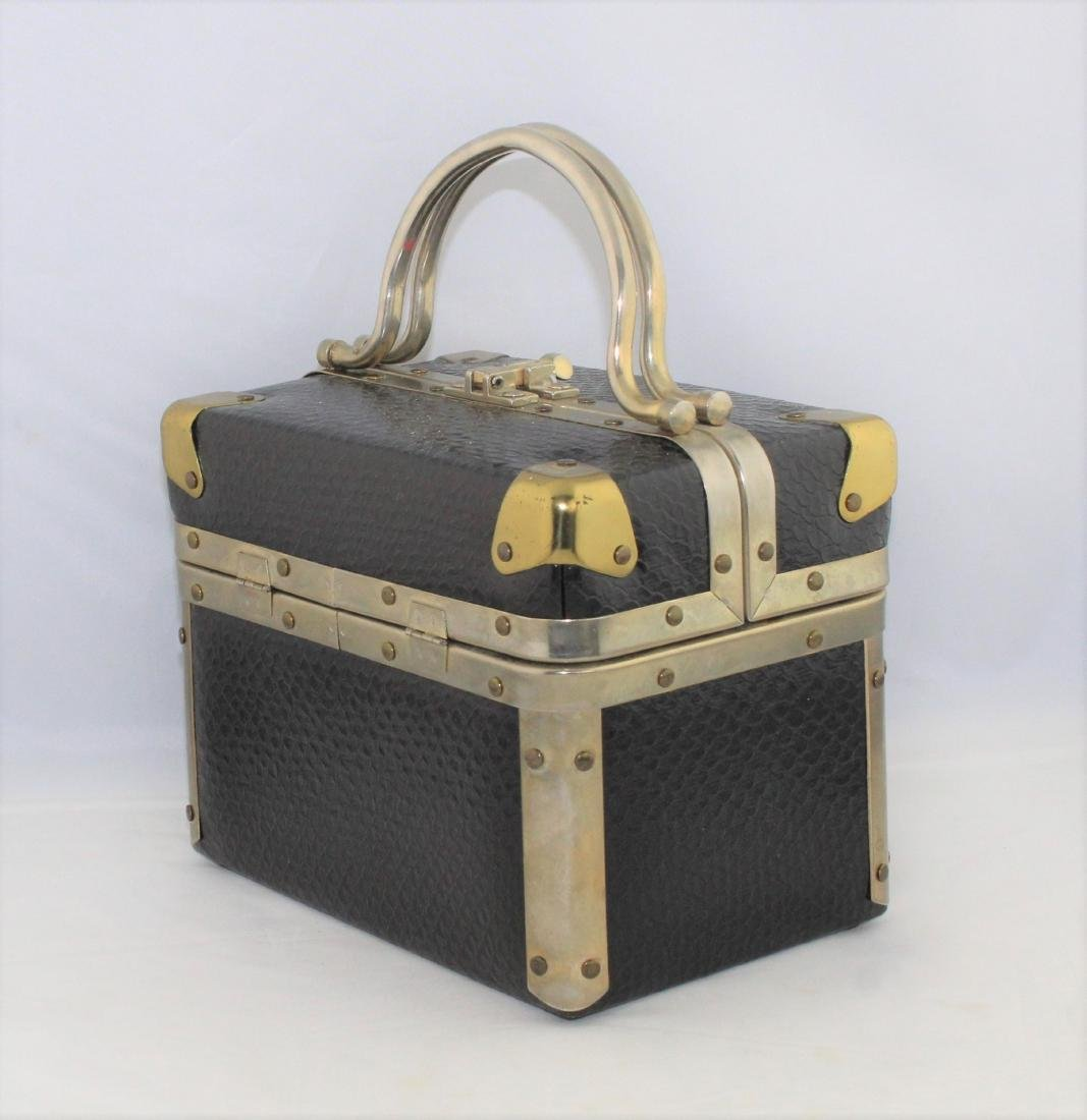 Vintage 60's Delill Black Faux Snake Train Case Handbag - 2