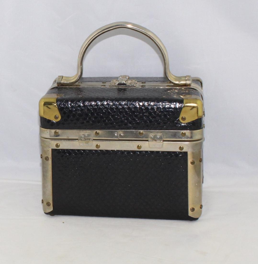 Vintage 60's Delill Black Faux Snake Train Case Handbag - 3