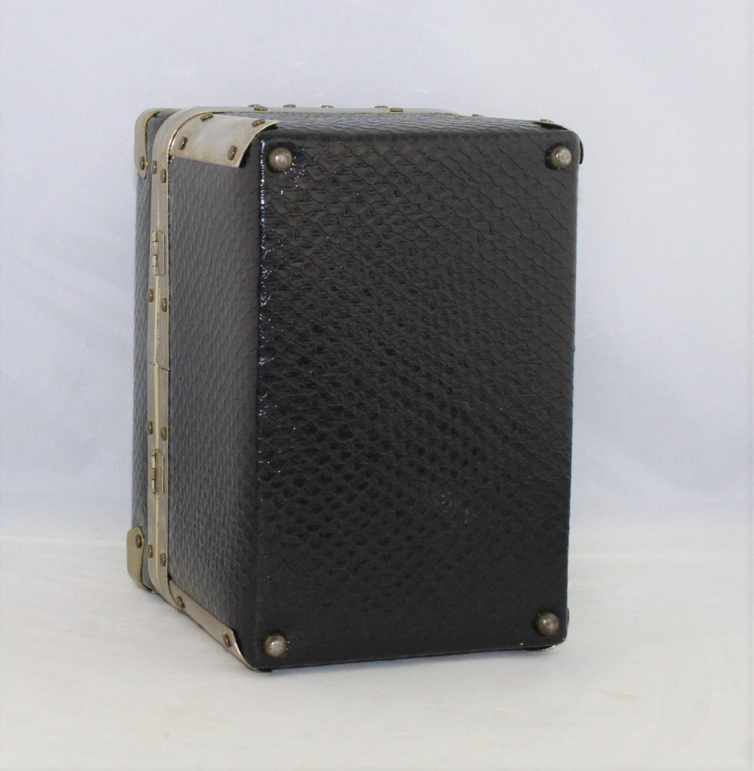 Vintage 60's Delill Black Faux Snake Train Case Handbag - 4