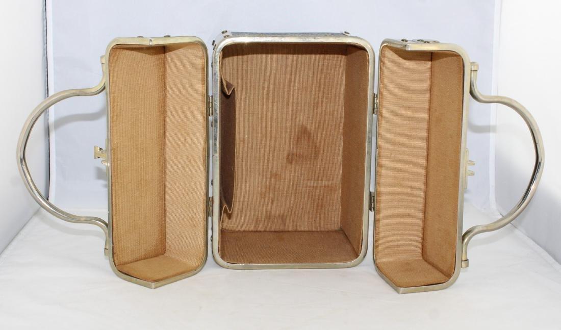 Vintage 60's Delill Black Faux Snake Train Case Handbag - 5