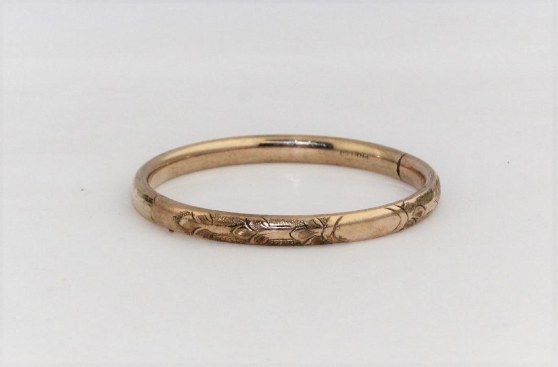 Antique Edwardian Child's Rose Gold GF Bangle Bracelet