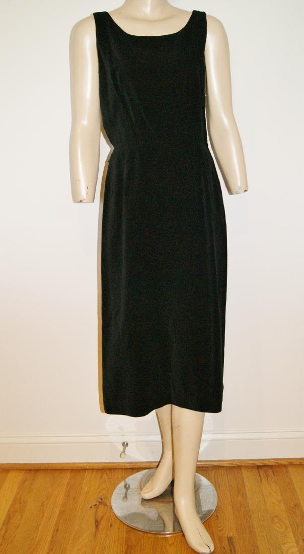 50's HENRY ROSENFELD Black Velvet Dress - Size 4