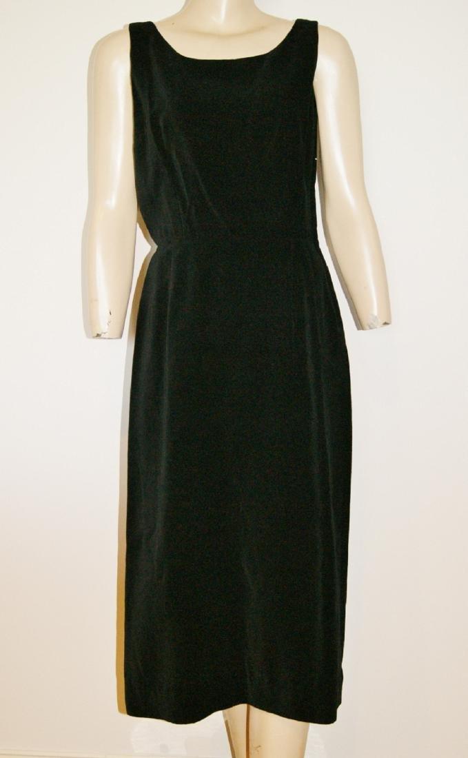 50's HENRY ROSENFELD Black Velvet Dress - Size 4 - 2