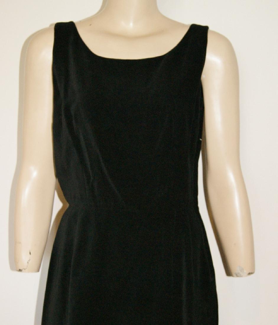50's HENRY ROSENFELD Black Velvet Dress - Size 4 - 3