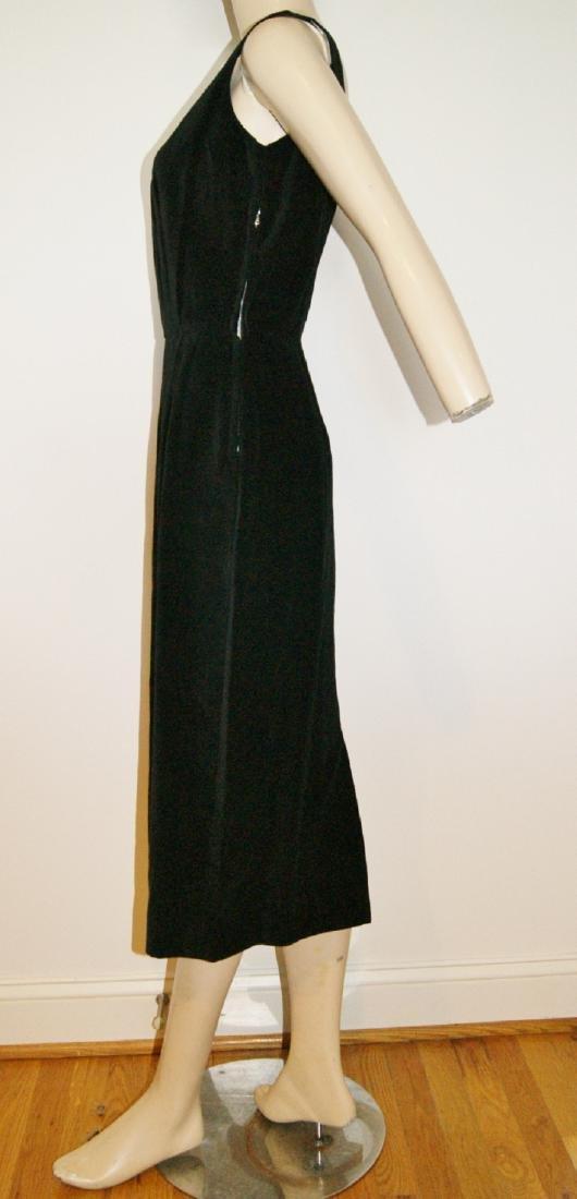 50's HENRY ROSENFELD Black Velvet Dress - Size 4 - 4