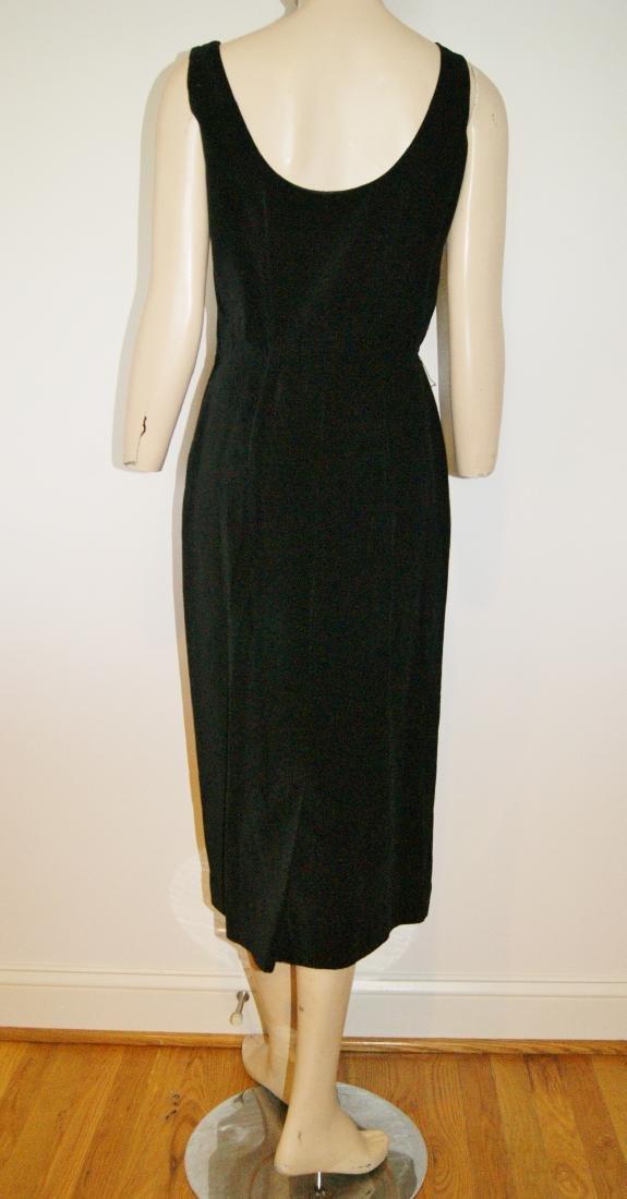 50's HENRY ROSENFELD Black Velvet Dress - Size 4 - 7