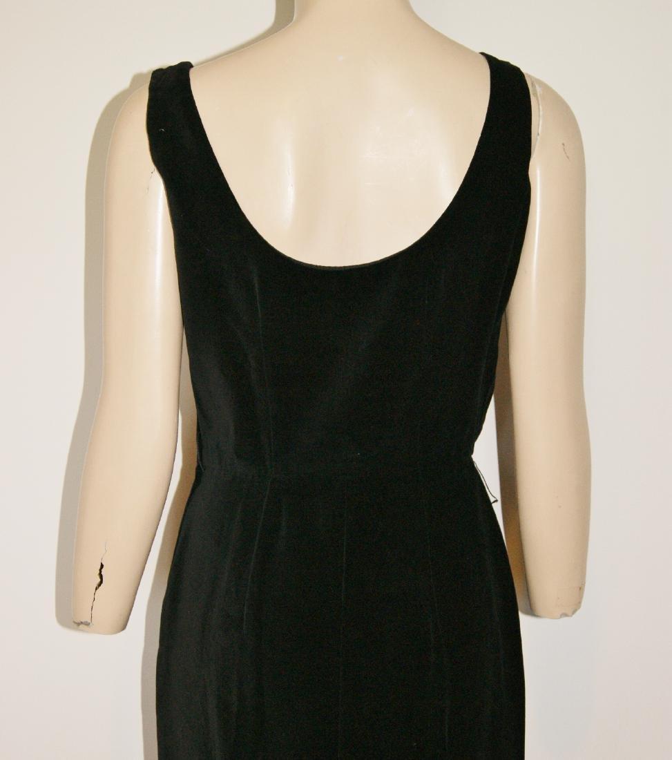 50's HENRY ROSENFELD Black Velvet Dress - Size 4 - 8