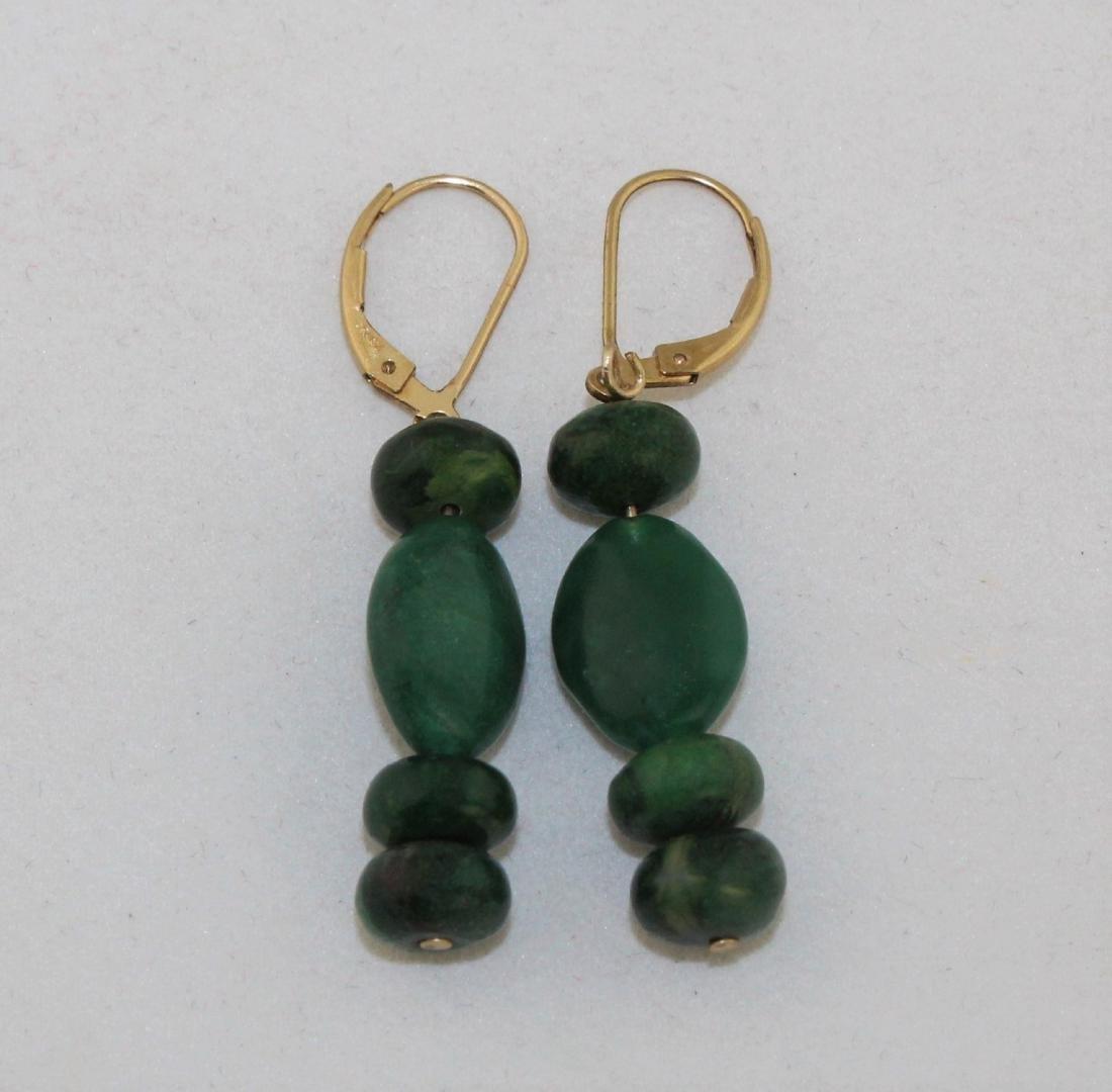 Dark Green Chrysophrase Pierced Dangling Earrings