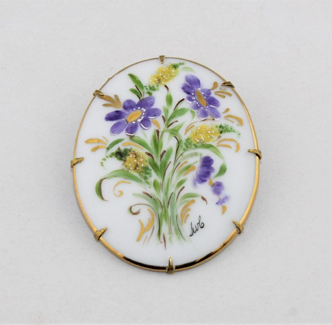 Victorian Hand Painted Artist Signed Brooch Pin