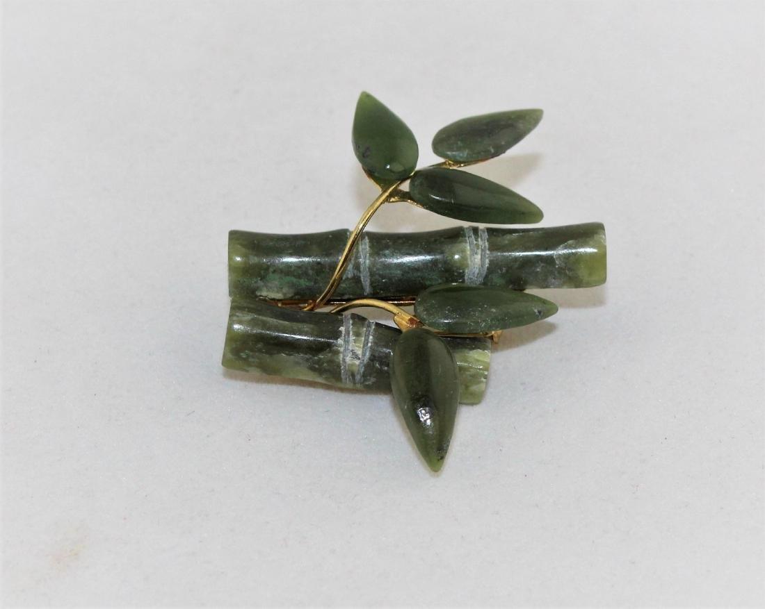 Vintage Jade Nephrite Bamboo Brooch Pin