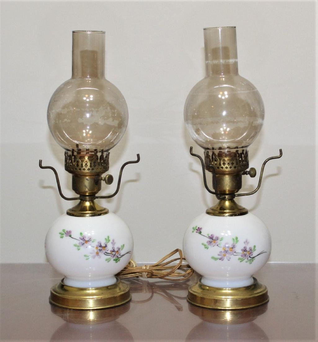 """Pair Hand Painted GWTW Lamps 3-Way Switch 17"""" H"""