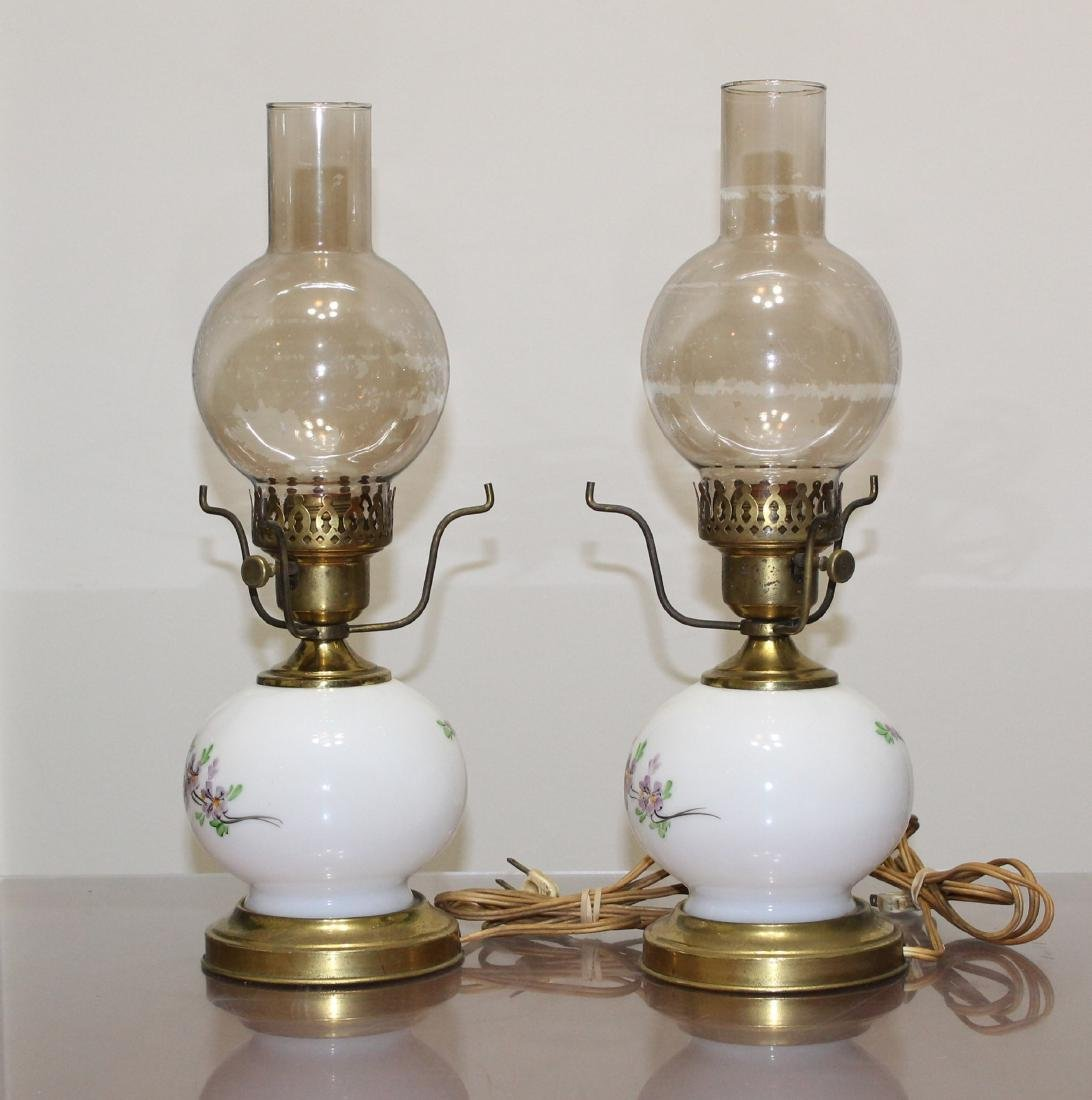 """Pair Hand Painted GWTW Lamps 3-Way Switch 17"""" H - 2"""