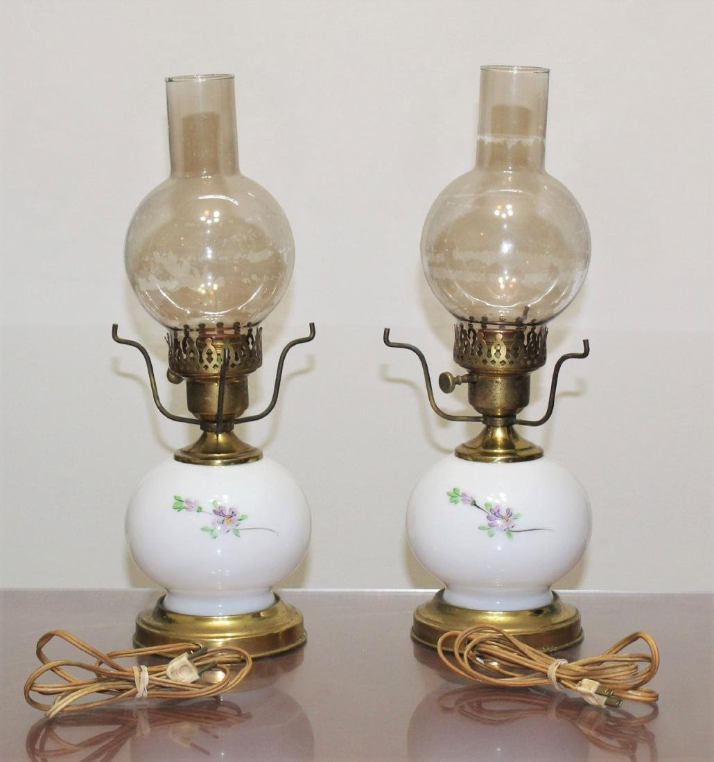 """Pair Hand Painted GWTW Lamps 3-Way Switch 17"""" H - 3"""