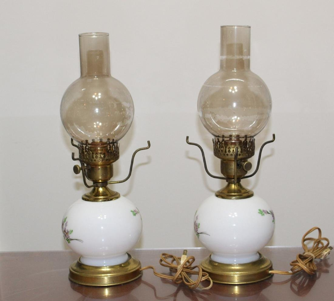 """Pair Hand Painted GWTW Lamps 3-Way Switch 17"""" H - 4"""