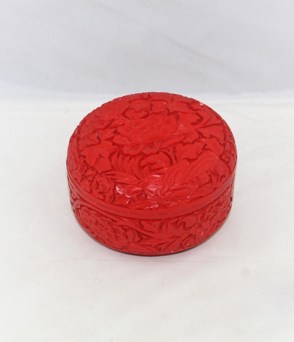 Chinese Red Cinnabar Carved Lacquered Covered Dish