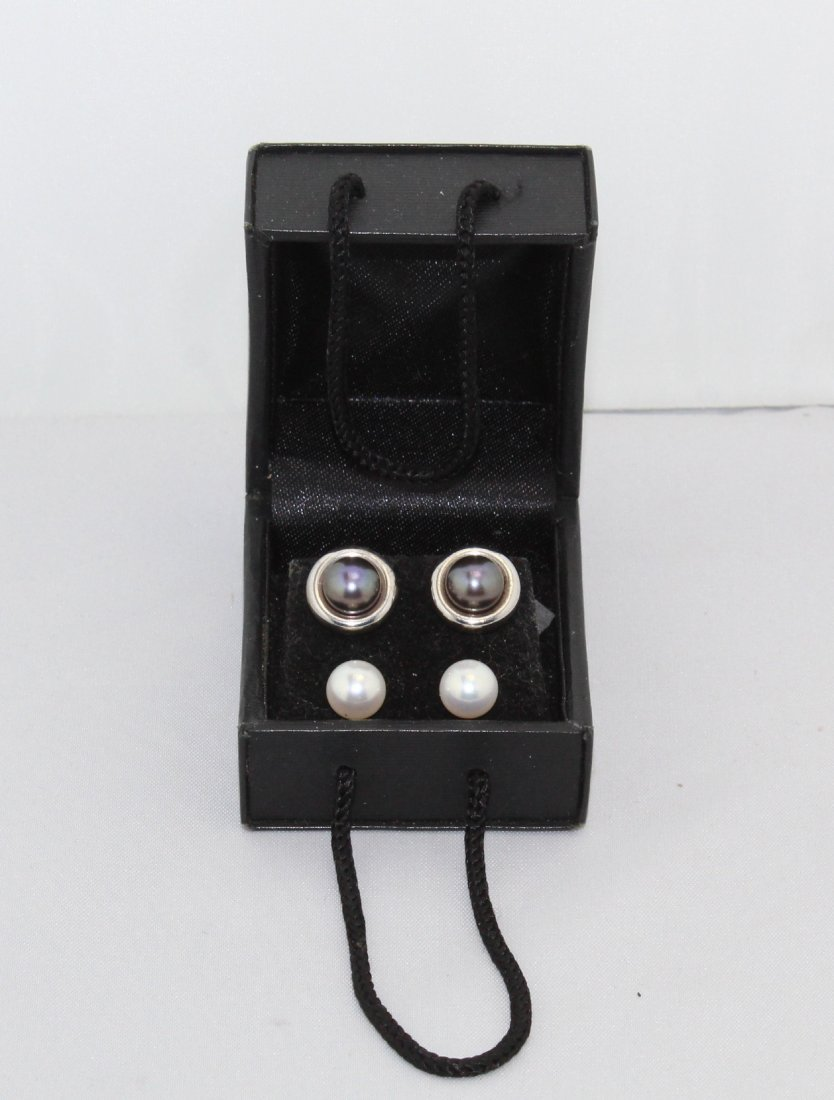Pearl Sterling Silver Earrings Brown & White Sets