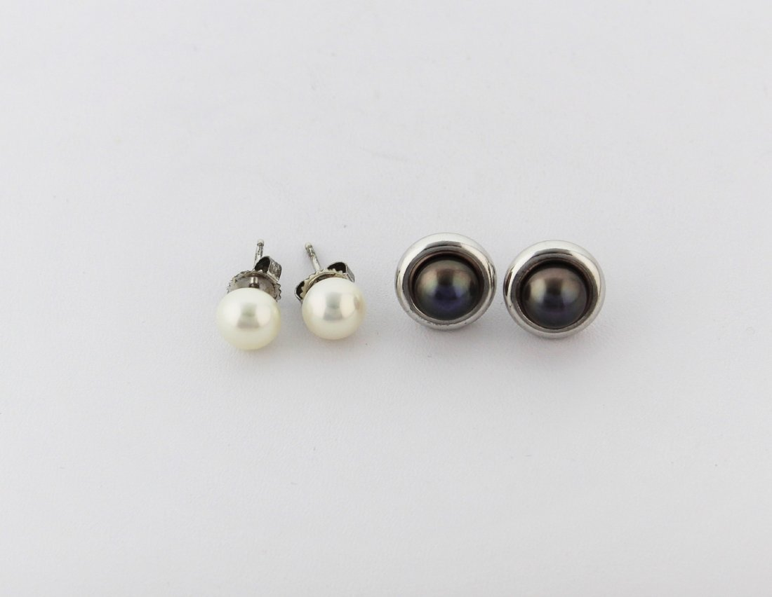 Pearl Sterling Silver Earrings Brown & White Sets - 4
