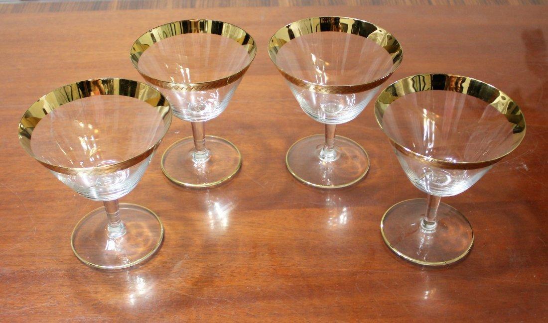 Bohemian Crystal Wine Cocktail Glasses Gold Gilt Trim