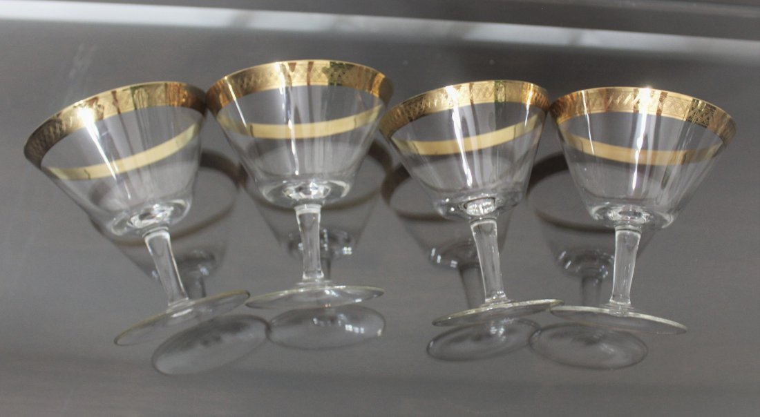 Bohemian Crystal Wine Cocktail Glasses Gold Gilt Trim - 4