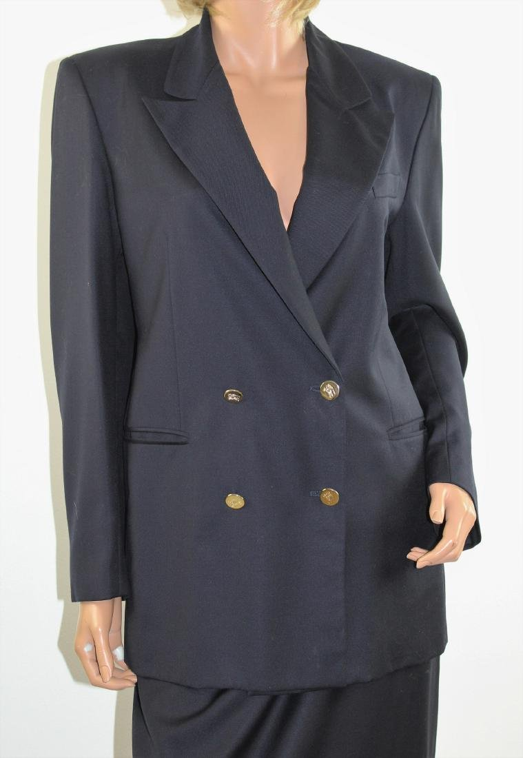Vintage 80s Blue Wool Skirt Suit by BURBERRYS US Size 6 - 2