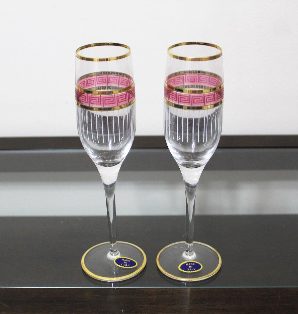 2 CRISTALLERIA FRATELLI FUMO Champagne Glasses - New