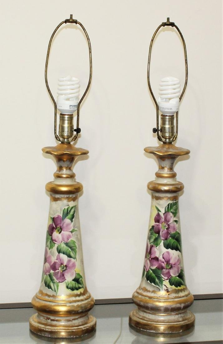 Vintage Pair of Hand Painted Porcelain Lamps