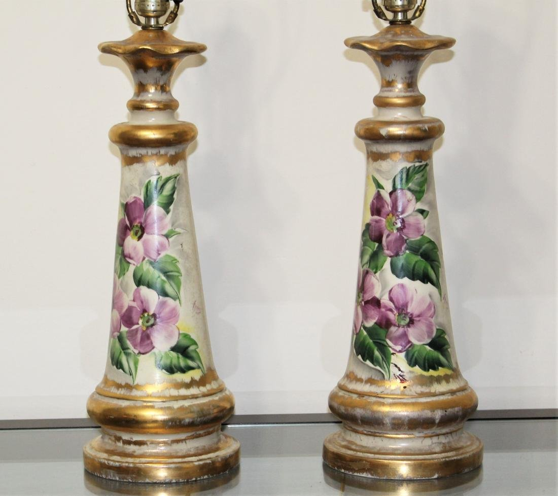 Vintage Pair of Hand Painted Porcelain Lamps - 2
