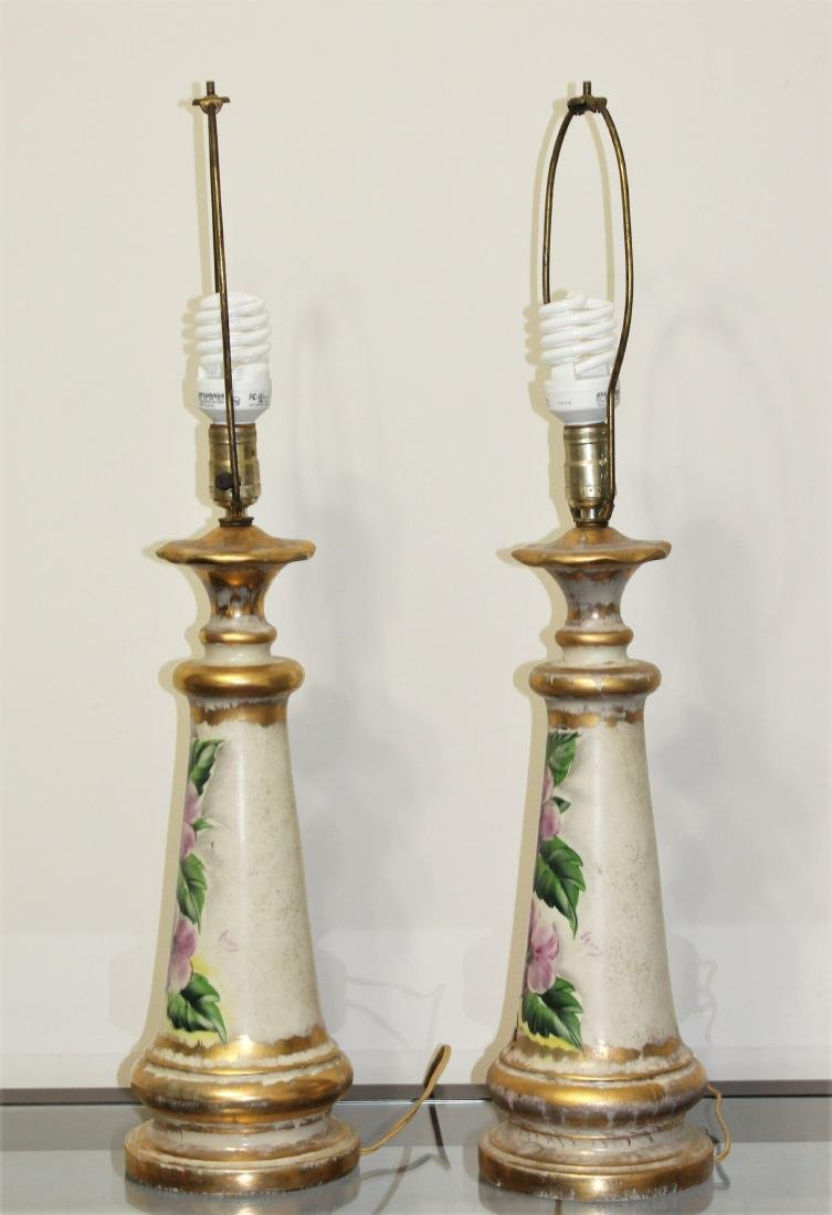 Vintage Pair of Hand Painted Porcelain Lamps - 3