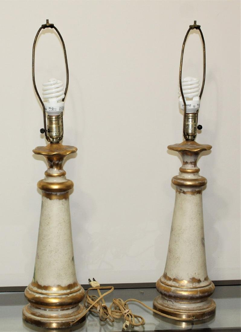 Vintage Pair of Hand Painted Porcelain Lamps - 5