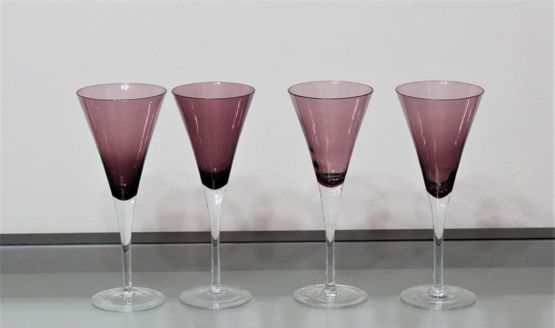 4 Set Amethyst Glass Bell Shaped Cocktail Wine Glasses