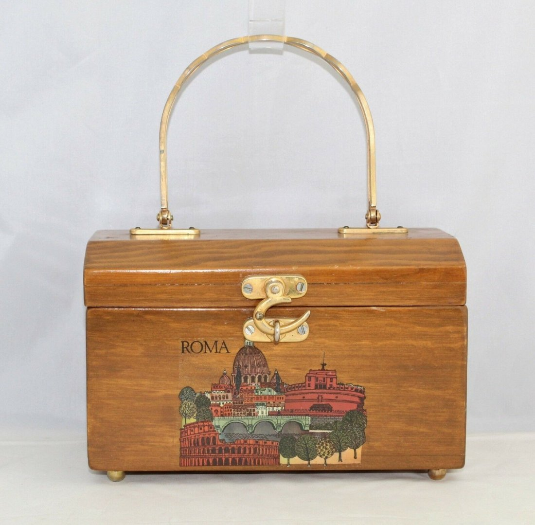 Vintage Wooden Box Handbag Bag Purse