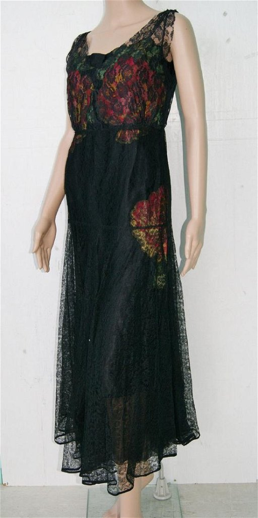edfdc0bc41dde Flapper Gatsby Black Silk Lace Dress Flower Applique- S - Mar 17 ...