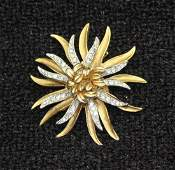 Vintage CORO Clear Rhinestone Starburst Pin Brooch