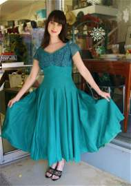 """Vintage Green Rockabilly Swing Prom Dress 272"""" Sweep"""