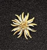Vintage CORO Crystal Clear Rhinestone Starburst Brooch