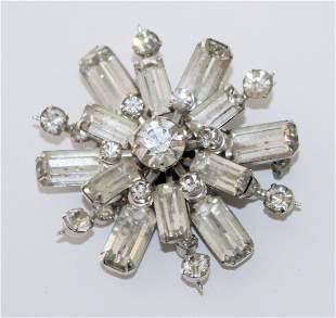 Vintage Rhinestone Silver Tone Starburst Pin Brooch
