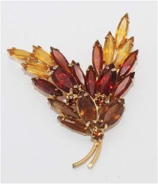 Vintage Juliana Amber Rhinestone Brooch Pin