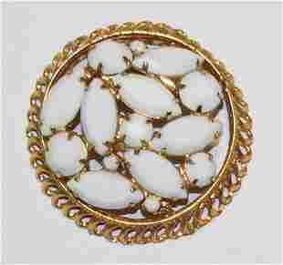 Vintage White Marquise Rhinestone Pin Brooch