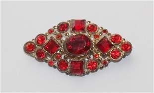 Antique Vintage Red Rhinestone Gold Tone Brooch C-Clasp