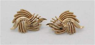 Vintage TRIFARI Gold Tone Abstract Clip On Earrings