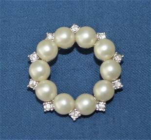 Vintage MARVELLA Faux Pearl Clear Rhinestone Brooch