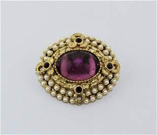 Vintage SPHINX Purple Clear Rhinestone Pearl Brooch