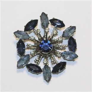 Vintage Blue Rhinestone Silver Tone Round Brooch