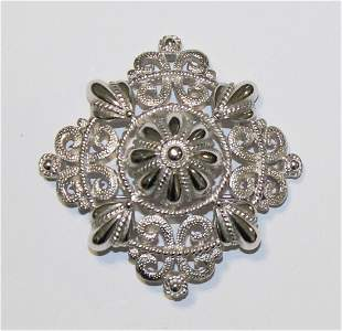 Vintage TRIFARI Silver Tone Intricate Cut Out Brooch