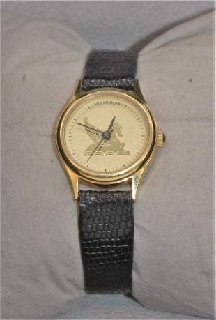 Vintage WITTNAUER Pegasus Gold Tone Watch Leather Band