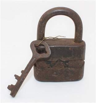 Vintage 40's SYSTEM DULY Iron Padlock w/ Skeleton Key